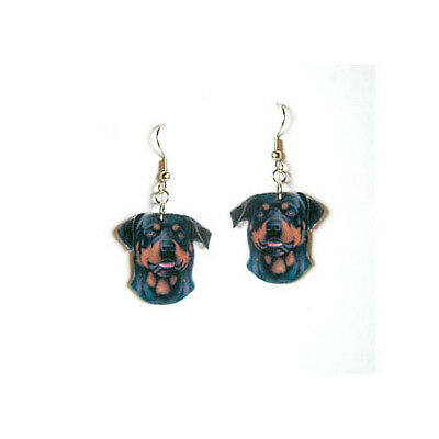 Brown Black Rottweiler Dangle Earrings Handcrafted Plastic Made in USA