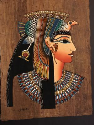 Amazing Hand Painted and signed by the artist Egyptian Papyrus Queen Cleopatra