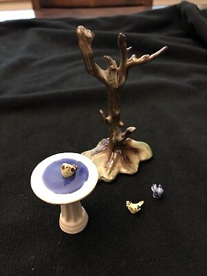 Hagen Renaker RARE Vintage Ceramic Tree Birdbath and Birds 5-pc set