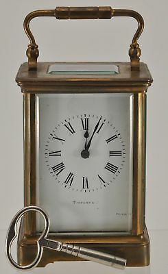 TIFFANY FRANCE CARRIAGE CLOCK and KEY WORKING FRENCH EARLY 20TH C ANTIQUE