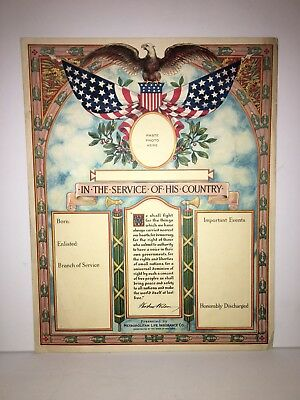 WWI american roll of honor- Original Lithograph 1918