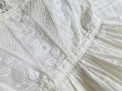 Antique 1880s Victorian babys dress robe christening gown white work embroidery