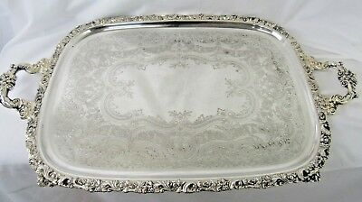 """Ornate Antique  Large Silver Plate 27"""" Elegant Butler's Tray by International"""