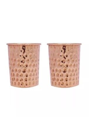 Handmade Pure Copper Glass Cup Tumbler for water , SHIPPING FROM UK set of Two
