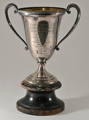 ANTIQUE 1920's SWIMMING WINNERS SILVER PLATE TROPHY CUP on WOOD BASE