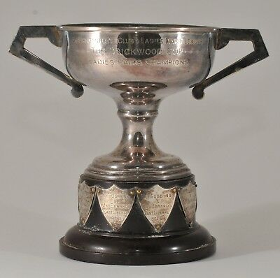 1958 BOURNEMOUTH UK DART CLUB SILVER PLATE & STERLING TROPHY CUP on WOOD BASE