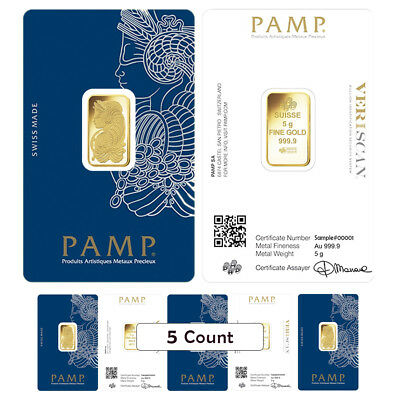 Lot of 5 - 5 gram Gold Bar PAMP Suisse Lady Fortuna Veriscan .9999 Fine In Assay