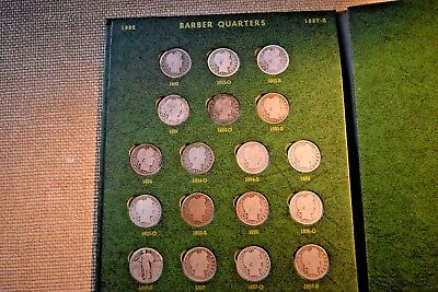 Silver Barber Quarters 71 Coin Circulated Set Missing 3 Dates