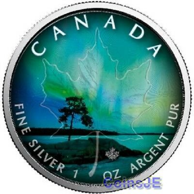 2018 Canadian  Maple Leaf  Northern Lights Quebec1 Oz .999 Silver Coin