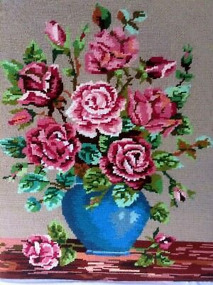 Woolwork Tapestry Needlepoint Hand Embroidered Picture Panel Cabbage Roses