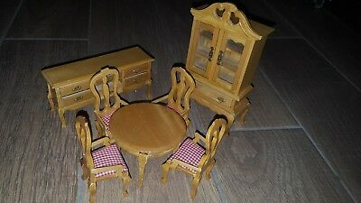 Oak Dining Room Set For Doll House China Cabinet, Buffet Table & 4 Chairs