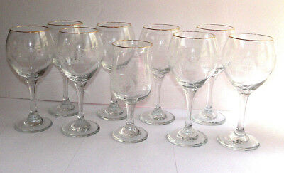 9 Vintage Arby's Libbey Wine White Winter Scene Glass Goblet Set Holidays 1980s
