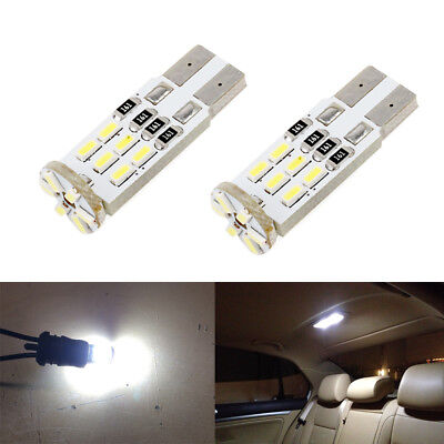2 x White LED T10 194 168 W5W Interior Map Dome Trunk License Plate Light Bulbs