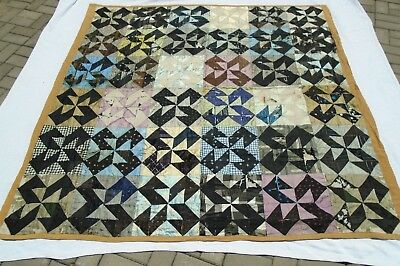 Antique Satin Quilt HAND SEWN PINWHEEL PATTERN 78x78 As-Is Display Only  FRAGILE