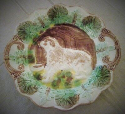 """Antique Majolica Dog With Dog House 11"""" Platter American 1880"""