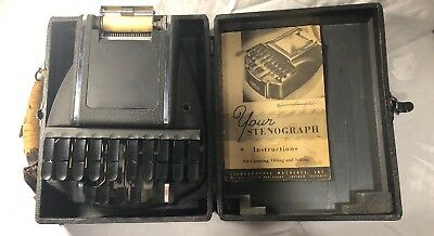 Vintage Stenograph Reporter Shorthand Machine With Case and Manual