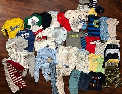 Baby Boy Fall Winter Lot 50 Pieces Bodysuits Pants Sleepers Newborn 0 3 6 Months