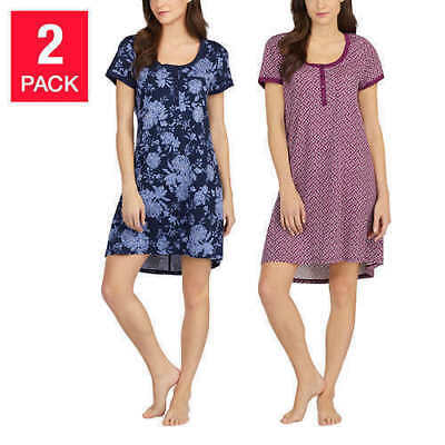 NEW Women's LUCKY BRAND Henley Sleepshirt 2 Pack L Large  NAVY PLUM