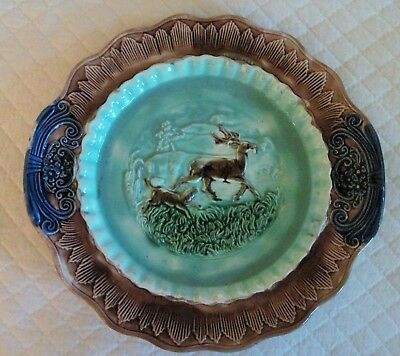 """Antique Majolica Stag Deer WithChasing Dog 11"""" Platter Turquoise Background"""