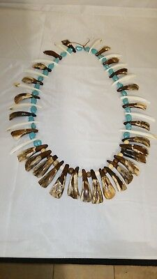 Old Quapaw Indian Warrior Buffalo Tooth Beaded NECKLACE