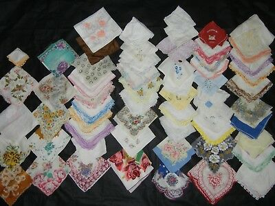 Huge Lot 60 Vintage Ladies Handkerchiefs Hankies Lace Embroidered Floral Mixed