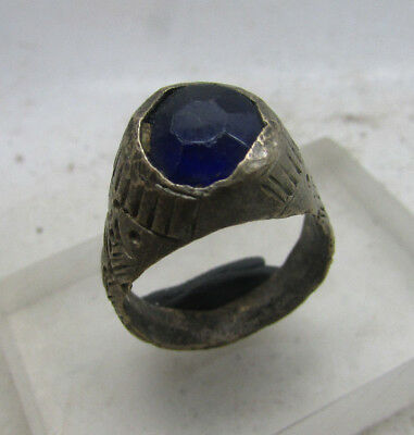 Beautiful Post Medieval Silvered Ring With Stone Insert