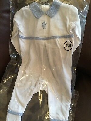 Spanish Baby's All in One Romper White & Blue 100% Cotton 0-3 3-6 6-9 Months