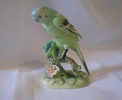 "Vintage Ceramic Green Parakeet Bird On Plant 5.25"" Figurine Japan (1C)"