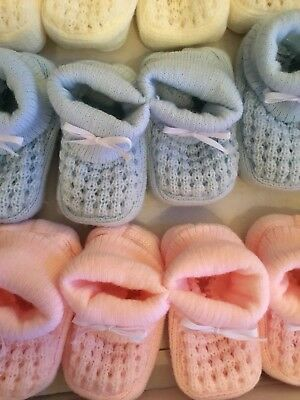 Spanish Knitted Baby Booties Shoes 0-6 Months Pink Blue White Ivory Pram Ribbon