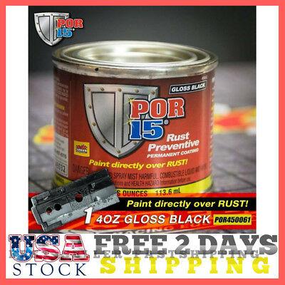 Por 15 45032 - 4Oz Can Gloss Black Rust Preventative Paint - Paint Over Rust New