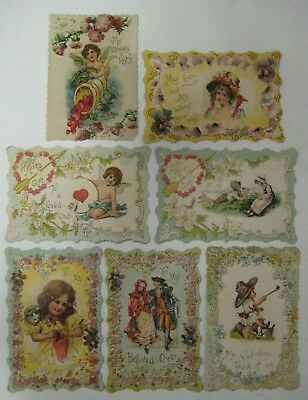 Vtg Early 1900's Lot VALENTINE'S DAY CARD DIECUT Antique Embossed Victorian