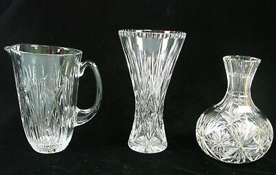Vintage Lot of 3 Heavy Weight Cut Lead Crystal Decanter Pitcher & Vase No Chips