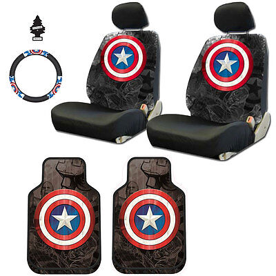Marvel Captain America Car Seat and Steering Wheel Cover Floor Mat Set for BMW