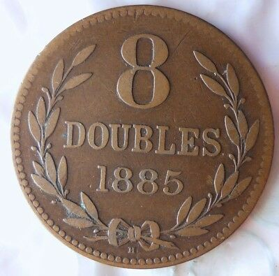 1885 GUERNSEY 8 DOUBLES - Low Mintage - High Quality Scarce Coin - Lot #713