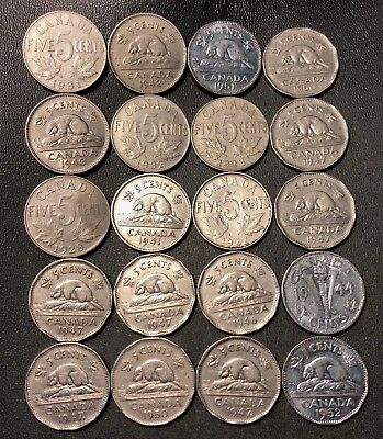 Old Canada Coin Lot - 1923-1952 - 20 Excellent Nickels - Lot #713