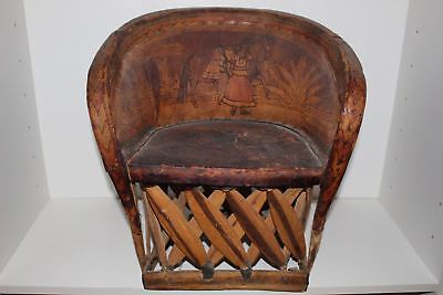 Antique Hand Painted Child's Mexican Equipale Chair-Pigskin/leather