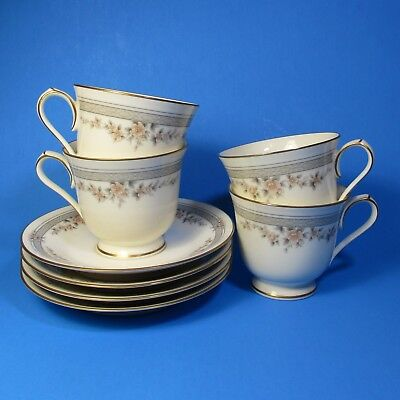 Noritake FAIRVIEW Cup & Saucer Sets 4 Made in Japan Contemporary Fine China 7263