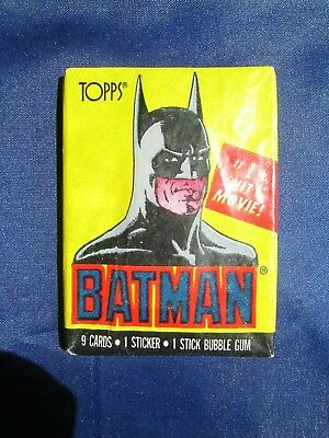 Vintage BATMAN #1 Hit Movie! Cards Sticker 10 Pack - Sealed