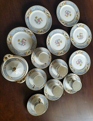 Antique Canonsburg China Derwood WS GEORGE PATTERN H1942 19 Pcs blue bird flower