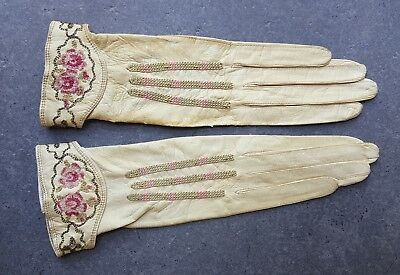 Antique French Metal Embroidered Leather Gloves 1800s 1900s Edwardian? Monique?