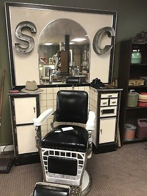 vintage Emil J. Paidar Antique Barber Chair, Made in Chicago W/Vintage Station