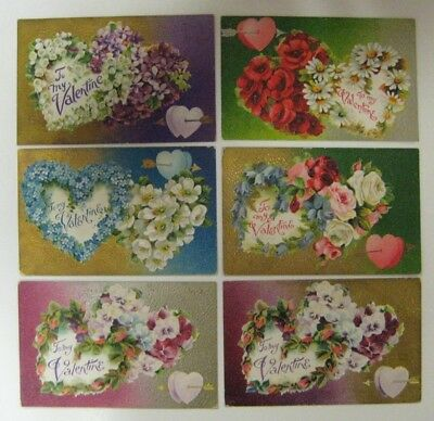 Vtg Early 1900's Lot Valentine Day Postcard Antique Embossed FLOWER SERIES No. 4