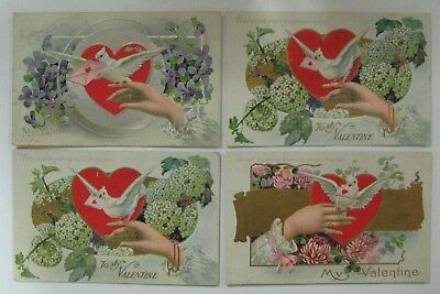 Vtg Early 1900's Lot Valentine Day Postcard Antique DOVES Embossed LOVER SERIES