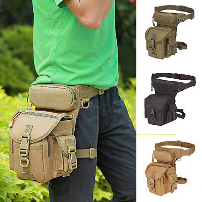 KD_ Men Tactical Drop Leg Waist Belt Fanny Pack Motorcycle Military Hiking Bag