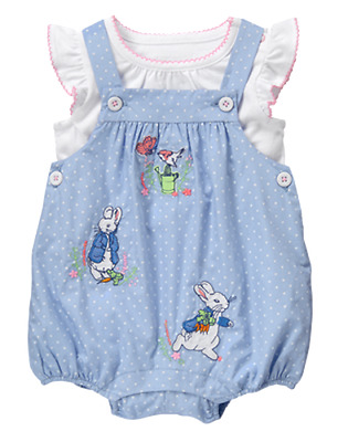3 6 9 12 M Gymboree 2pc PETER RABBIT Outfit Overalls New Baby Girl NWT