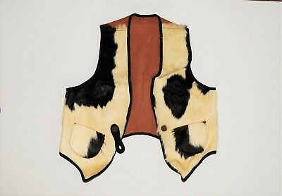 VINTAGE COWHIDE WESTERN VEST..1930's CHILD's COWHIDE LEATHER VEST
