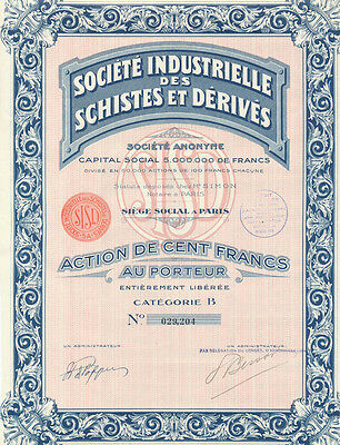 27 - FRANCE Industrial Society Of Minerals And Derivatives Stock Certificate