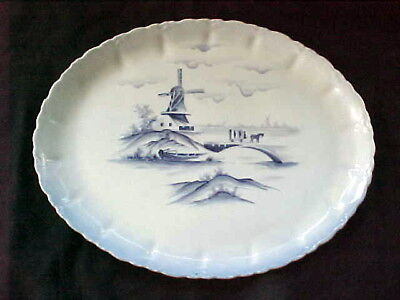Vintage Hand Painted Bone China Windmill Farm Oval Platter Signed! Delft?