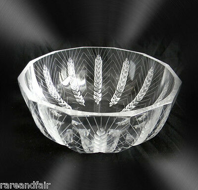 Lalique clear crystal bowl with cut wheat pattern - signed