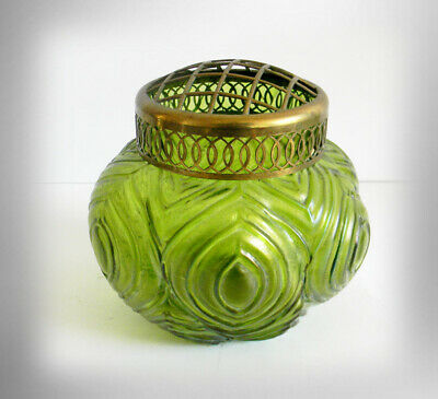 Art glass jar with metal cover - hand blown